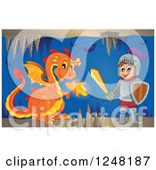 Clipart Of An Orange Fire Breathing Dragon And Knight In A Cave Royalty Free Vector Illustration