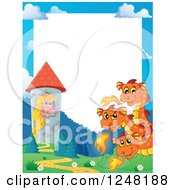 Clipart Of A Border Of A Three Headed Orange Fire Breathing Dragon Guarding A Princess In A Tower Royalty Free Vector Illustration by visekart
