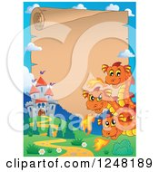 Clipart Of A Three Headed Orange Fire Breathing Dragon And Castle With A Parchment Scroll Royalty Free Vector Illustration