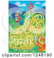 Clipart Of A Knight Dragon And Fairy Tale Castle Maze Royalty Free Vector Illustration