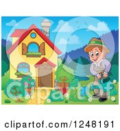 Clipart Of A House With A Man Watering A Garden In The Front Yard Royalty Free Vector Illustration