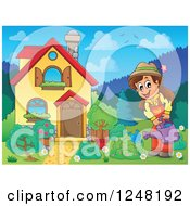 Clipart Of A House With A Woman Watering A Garden In The Front Yard Royalty Free Vector Illustration