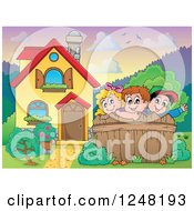 Clipart Of A House With Children Behind A Fence In The Front Yard Royalty Free Vector Illustration