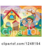 Clipart Of A House With A Girl And Autumn Leaves In The Front Yard Royalty Free Vector Illustration