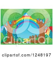 Clipart Of A Rainbow Fence And Path Through Mature Trees Royalty Free Vector Illustration
