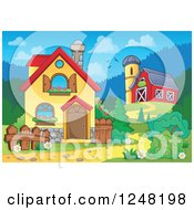 Clipart Of The Front Yard Of A Home With A Barn Royalty Free Vector Illustration