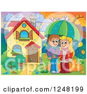 Clipart Of A Young Couple With An Umbrella In The Rain In The Front Yard Of A Home Royalty Free Vector Illustration