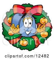 Clipart Picture Of A Blue Postal Mailbox Cartoon Character In The Center Of A Christmas Wreath