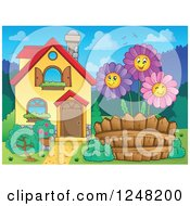 Clipart Of A House With Happy Daisies In The Front Yard Royalty Free Vector Illustration