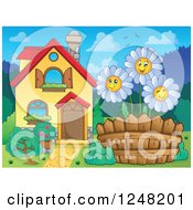 Clipart Of A House With Happy White Daisies In The Front Yard Royalty Free Vector Illustration