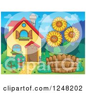Clipart Of A House With Happy Sunflowers In The Front Yard Royalty Free Vector Illustration