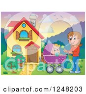 Clipart Of A House With A Mother And Baby Pram In The Front Yard Royalty Free Vector Illustration by visekart