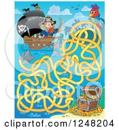 Clipart Of A Pirate Ship And Treasure Chest Maze Royalty Free Vector Illustration