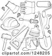 Clipart Of Black And White Hand Tools Royalty Free Vector Illustration