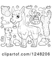 Clipart Of Black And White Mountain Animals Royalty Free Vector Illustration by visekart