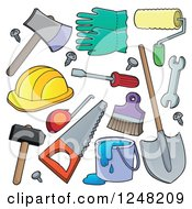 Clipart Of Hand Tools Royalty Free Vector Illustration