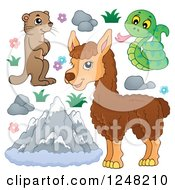 Clipart Of Cute Mountain Animals With Mountains Royalty Free Vector Illustration by visekart
