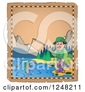 Clipart Of An Aged Parchment Page With A Man Fishing In A Mountainous Lake Royalty Free Vector Illustration by visekart
