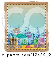 Clipart Of An Aged Parchment Page With A Boy Snorkeling To A Sunken Treasure Chest Royalty Free Vector Illustration