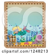 Clipart Of An Aged Parchment Page With A Girl Snorkeling To A Sunken Treasure Chest Royalty Free Vector Illustration