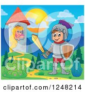 Clipart Of A Happy Knight Near A Princess In A Tower Royalty Free Vector Illustration
