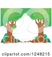Clipart Of Mature Trees And Shrubs Royalty Free Vector Illustration by visekart