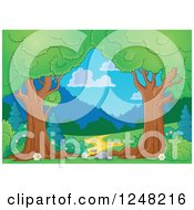 Clipart Of A Path Through Mature Trees Royalty Free Vector Illustration by visekart