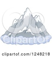 Clipart Of A Ring Of Clouds At The Base Of Mountains Royalty Free Vector Illustration