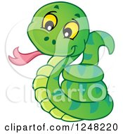 Clipart Of A Cute Green Snake Royalty Free Vector Illustration by visekart