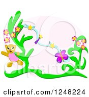 Clipart Of A Happy Cat With A Butterfly Flying Stars And A Plant Royalty Free Vector Illustration by bpearth