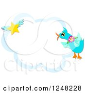 Blue Bird And Winged Star Over A Cloud Frame