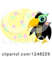 Tropical Toucan Bird Over A Yellow Floral Oval