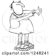 Clipart Of A Black And White Caveman Pointing To A Watch On His Wrist Royalty Free Vector Illustration