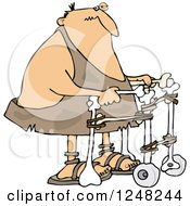 Clipart Of An Injured Caveman Using A Walker Royalty Free Vector Illustration