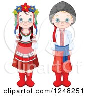 Clipart Of Cute Ukrainian Children In Traditional Dress Royalty Free Vector Illustration