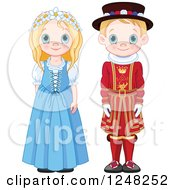 Cute Blond British Children In Traditional Dress