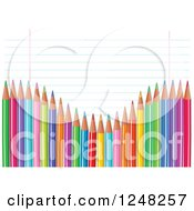 Clipart Of A Wave Of Colored Pencils Over Ruled School Paper Royalty Free Vector Illustration by Pushkin