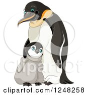 Clipart Of A Father And Cute Baby Penguin Royalty Free Vector Illustration