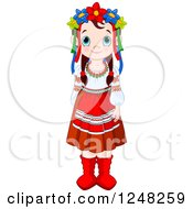 Clipart Of A Cute Ukrainian Girl In Traditional Dress Royalty Free Vector Illustration