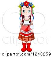 Cute Ukrainian Girl In Traditional Dress