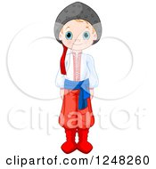 Clipart Of A Cute Ukrainian Boy In Traditional Dress Royalty Free Vector Illustration