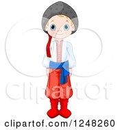 Cute Ukrainian Boy In Traditional Dress