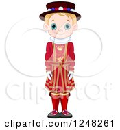 Clipart Of A Cute Blond British Boy In Traditional Dress Royalty Free Vector Illustration