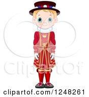 Cute Blond British Boy In Traditional Dress