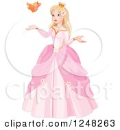 Clipart Of A Blond Princess With A Summer Bird Royalty Free Vector Illustration by Pushkin