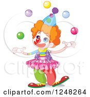 Clipart Of A Cute Little Clown Juggling Royalty Free Vector Illustration by Pushkin