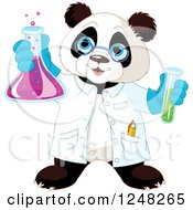 Clipart Of A Scientist Panda Holding Up A Flask Royalty Free Vector Illustration