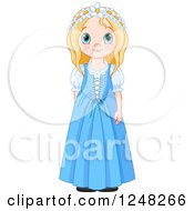 Clipart Of A Cute Blond British Girl In Traditional Dress Royalty Free Vector Illustration