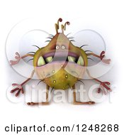 Clipart Of A 3d Dead Germ Monster 2 Royalty Free Illustration by Julos