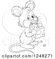 Clipart Of A Black And White Cute Mouse Holding Cheese Royalty Free Vector Illustration
